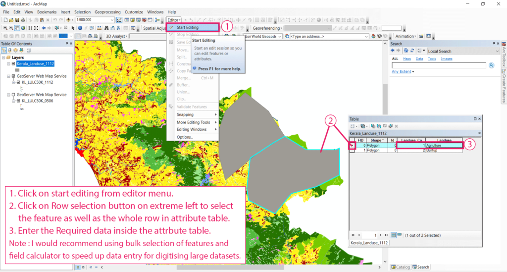 Digitization of data from a WMS link make shapefiles and